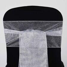 5pc x Razzle-Dazzle Glitter Pinstripe Organza Chair Sash for Wedding Event Decor