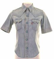 LEVI'S Womens Denim Shirt Short Sleeve Small Blue Cotton  MP19