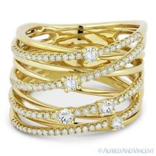 Loop Wrap Ring in 14k Yellow Gold 0.63 ct Round Cut Diamond Right-Hand Overlap