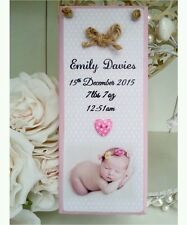Personalised baby photo wooden birth keepsake shabby sign plaque chic gift
