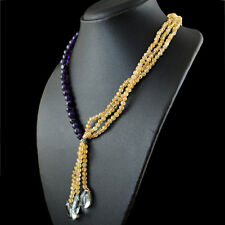 Genuine 274.00 Cts Natural Round Citrine & Amethyst Beads Necklace - On Sale