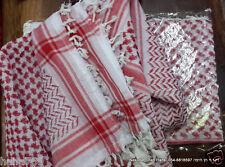 Arab red white Shemagh Keffiyeh scarf  cotton blend KAFFIA