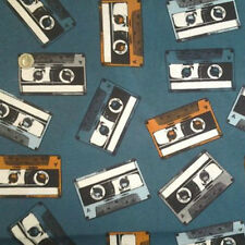 Retro Cassette Cinta De Tela 1 Metro 136cm X 100cm 75% cotton linen Mira.