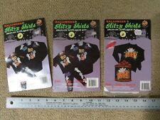 New listing Lot of 3 Halloween Glitzy Shirts Iron On Applique Kits Nip Shiney Appliques