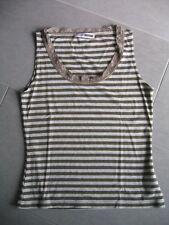 Top/Shirt von Flashlights, Gr. 36/38, gestreift, grau-khaki, Spitze