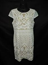 Bailey 44 L White Floral Crochet Lace Dress Nude Lining Cap Sleeve Straight Lg
