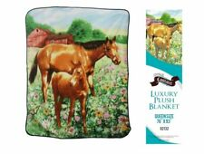 """Showman Couture Queen Size Blanket Luxury Plush Mare And Foal Print 76"""" x 93"""""""