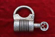 indian antique old vintage unique iron Screw thread type silver inlay padlock