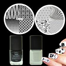 4Pcs/Set Wave Line Nail Art Stamp Image Plates Black White Stamping Polish Kit