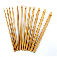 1 Set 12 SIZES BAMBOO CROCHET HOOK 15CM SET NEEDLES SIZE 3-10MM FOR CRAFT KNIT