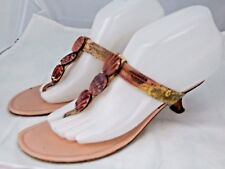MANOLO BLAHNIK Pink Snakeskin Paterno Kitten Heel Sandals Sz 38/8 Made in Italy