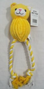 Dog Toy 3 in 1 Plush Rope 15 Inch Yellow and White Bear