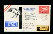 AUA-Erstflug 1960 Wien-Milano auf Recobrief  (FP3)