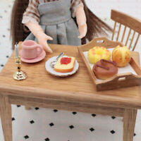 3x/set 1:12 Dollhouse Miniature Toast Small Plate Spoon Dolls Accessories YK