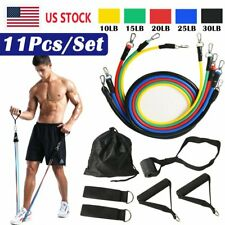 New listing 11Pcs Resistance Bands Yoga Pilates Abs Gym Exercise Fitness Tube Workout Band