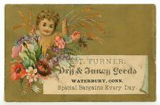 Child Among Flowers E T Turner Dry Goods Waterbury CT Victorian Trade Card
