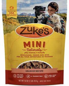 Mini Natural Dog Treats, Zuke's 16oz Salmon Recipe BB10/22