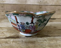 Vintage Asian Scalloped Bowl Rose Famille Fish Gold Trim