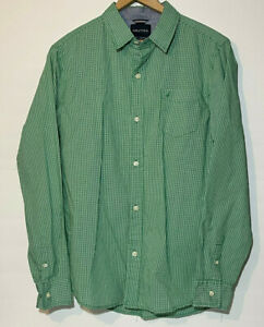 Boy Nautica Dress Shirt Button Down Long Sleeve Green Gingham Size XL 18-20
