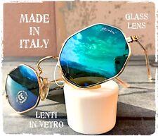 OCCHIALI SOLE SUNGLASSES VINTAGE OTTAGONALE ORO VETRO SPECCHIO MADE IN ITALY