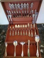 TRUE DINNER SIZE WALLACE SIR CHRISTOPHER 53 PC FOR 8 STERLING FLATWARE SET&CHEST