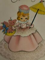 Vtg Birthday Greeting Card Cupcake Girl Pink Dress Peppermint FORGET-ME-NOT 6""