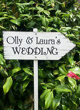 Large Shabby Wooden Wedding Arrow Sign Personalised Wedding This Way