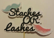 Staches or Lashes gender reveal party or baby shower cake topper