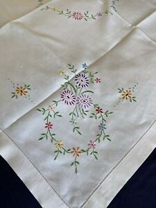 Beautiful Vintage Floral Hand Embroidered Cream Cotton Medium Square Tablecloth