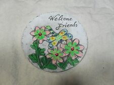 """Decorative Stepping Stone ~ Faux Stone ~ """"Welcome Friends"""" ~ w/ Flowers & Dragon"""
