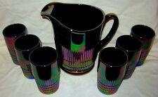 Rare Fenton Lincoln Inn Black Carnival Glass Water Set - Pitcher & 6 Tumblers
