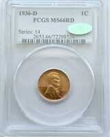 1936 D 1C PCGS MS66RD CAC Lincoln Wheat Cent Mint State Red Penny BU