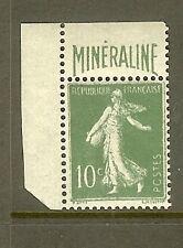 """FRANCE STAMP N° 188A """" SEMEUSE 10c VERT AVEC BANDELETTE MINERALINE """" NEUF xx TTB"""