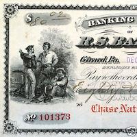 Antique Original 1909 Paper R.S. BATTLES BANK NOTE Check 1909 Ornate Written