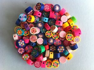 Lot 100 Beads Disk Flowers Fimo Polymer 8 MM