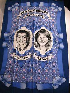 Royal Wedding Prince Andrew & Sarah Ferguson 1986 Tea Towel 100% Cotton Vintage