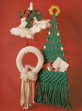 Tree Card Holder, Wreath & Bells Patterns #1909 Macrame Holiday Christmas Decor