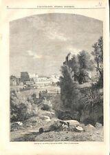 Paris Salon peinture;Le Colisée Jardin Farnèse Mont Palatin à Rome GRAVURE 1863