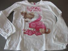Barbie Shirt T-Shirt Longshirt Gr. M, 130 cm, Weiß mit Hund, Love my Pets!, groß