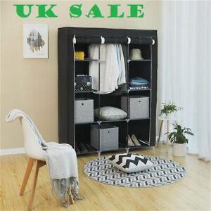 "67"" Portable Closet Organizer Wardrobe Storage,10 Shelves,Black,UK sale"