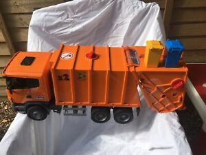 Bruder Collectable Vintage Orange Garbage Truck 2001