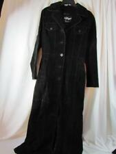 Wilsons The Leather Experts Maxima Black Suede Long Trench Coat Sz S