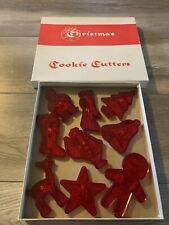 9 Vintage Cute EDUCATIONAL PRODUCTS CO Red Plastic Christmas Cookie Cutters Box