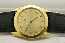Piaget Quartz Watch 18k Gold Ladies Box Papers Leather Strap Gold Buckle 80573