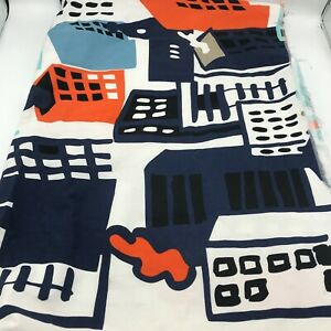 2014 Ikea Fabric Nina Jobs Buildings City Abstract 1.55 Yards Blue Orange Boys