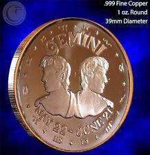 Gemini Horoscope Collection 1 oz .999 Copper Round