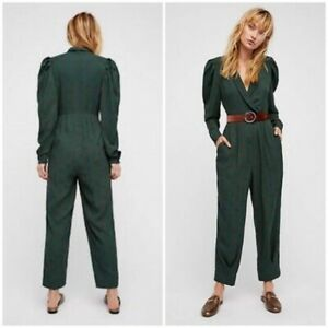 Free People Star Eyes Jumpsuit Green Print Long Sleeve V-Neck Small HW9604