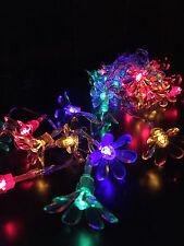5.9M 50 LED Multi-Coloured Solar Flower Christmas Garden Outdoor Fairy Lights
