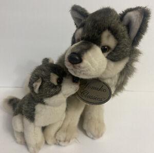 Russ Berrie Yomiko Classics Mommy & Baby Wolf Stuffed Plush Animal Toy Dog MINT