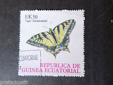 GUINEE EQUATORIALE, timbre THEME PAPILLONS, BUTTERFLY TIGER SHALLOWTAIL oblitéré